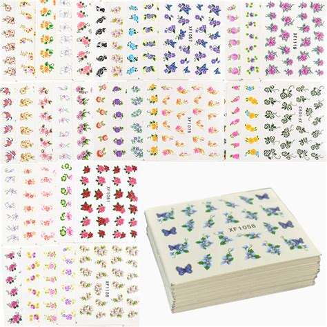 Nail Sticker Sticker Kuku 45 60 sheets flowers designs water transfer nail sticker watermark nail stickers temporary tattoos