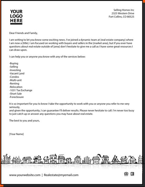 real estate letter templates real estate introduction letter memo formats