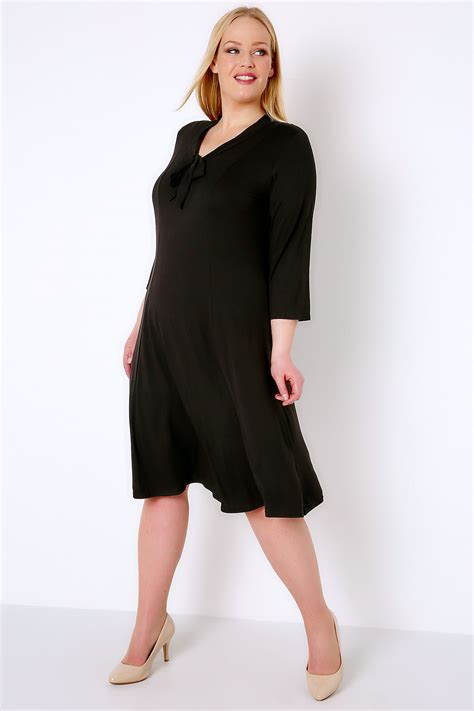 7 Bow Neck Pieces Of Clothing by Black Panelled Midi Dress With Bow Neck Tie Plus