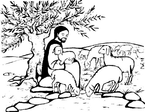 coloring page of jesus the good shepherd parable of the good shepherd the good shepherd
