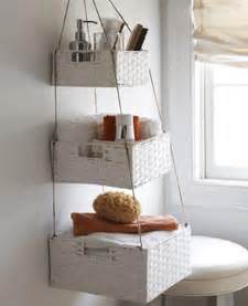 bathroom shelves made of white wicker baskets creative