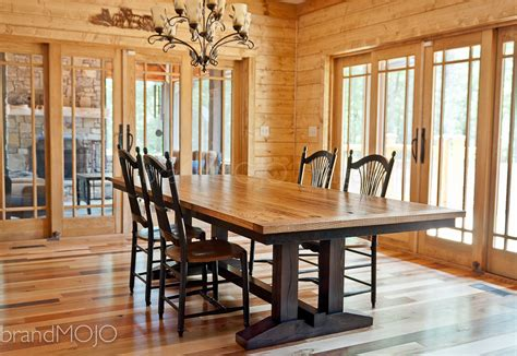 Hardwood Dining Room Furniture Reclaimed Trestle Dining Table Wormy Chestnut Barnwood Dining