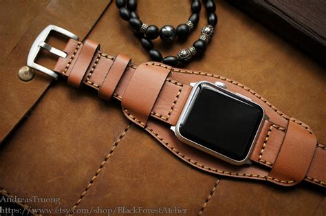 Handmade Leather Band - handmade leather cuff band for apple bonjourlife