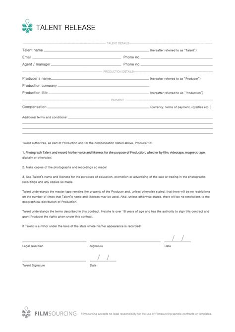Talent Contract Template Sletemplatess Sletemplatess Talent Contract Template