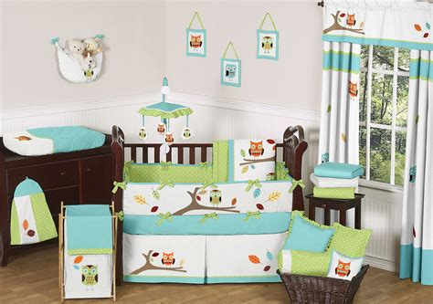 turquoise and lime owl baby crib and kids bedding