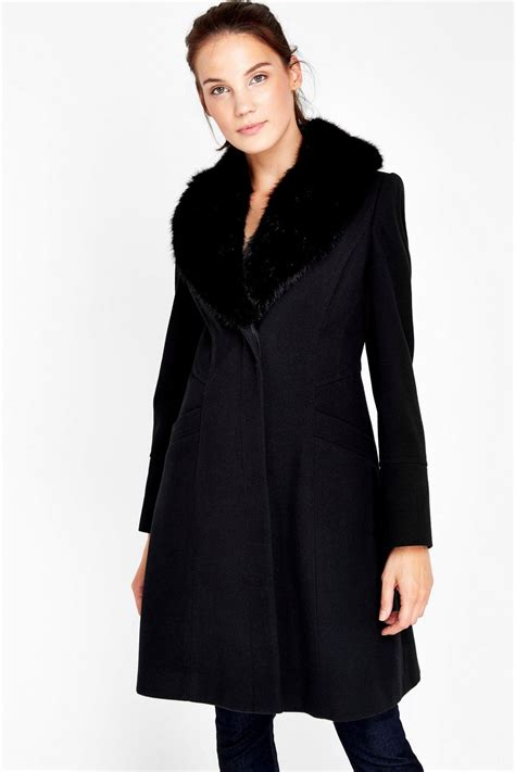 Faux Fur Collar Coat black faux fur collar coat clothing wallis