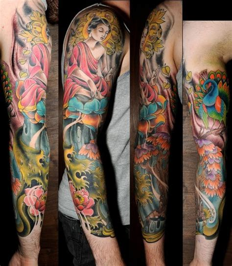 skinny buddha tattoo buddha sleeve by joshua bowers tattoonow