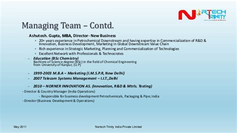 Mba In Innovation Management In India by Nortech India Limited Corporate Presentation