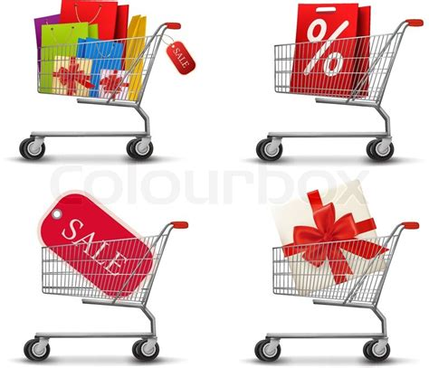 Shopping Bag Cetak Fullcolour collection of shopping carts of shopping bags and gift boxes concept of discount vector