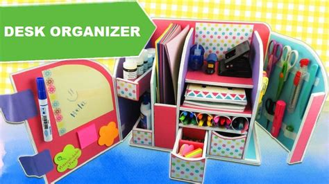 Diy Beautiful Desk Organizer From Cardboard Art Craft Craft Desk Organizer