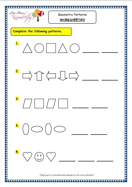 geometric pattern worksheets maths worksheets geometric patterns maths best free