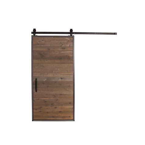 Rustica Hardware 42 In X 84 In Mountain Modern Home Barn Door Home Depot