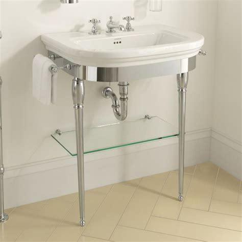 chrome legs for bathroom sink imperial carlyon basin stand with glass shelf chrome