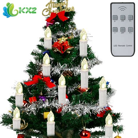 remite control multifunction christmas tree 10pcs set tree led candles lights battery operated for new year decoration