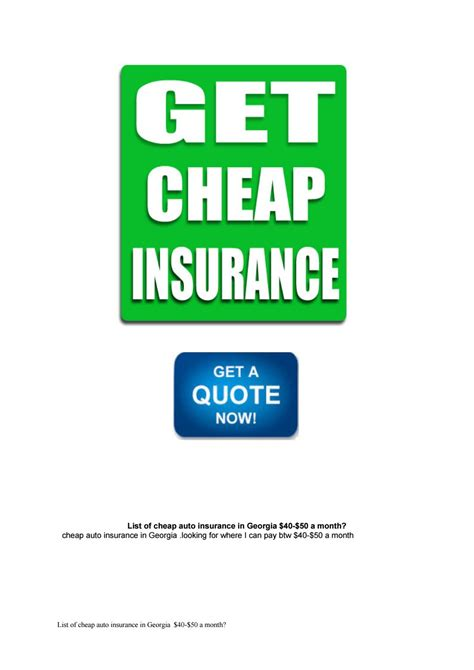 List of cheap auto insurance in Georgia $40 $50 a month