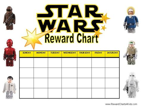 free printable weekly reward charts printable reward charts star wars pinterest war