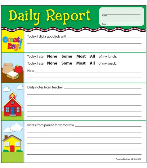 daycare daily report card template daily report notepad grade pk 2