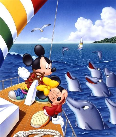 mickey mouse boat mickey and minnie sailing on a boat the dolphin kissing