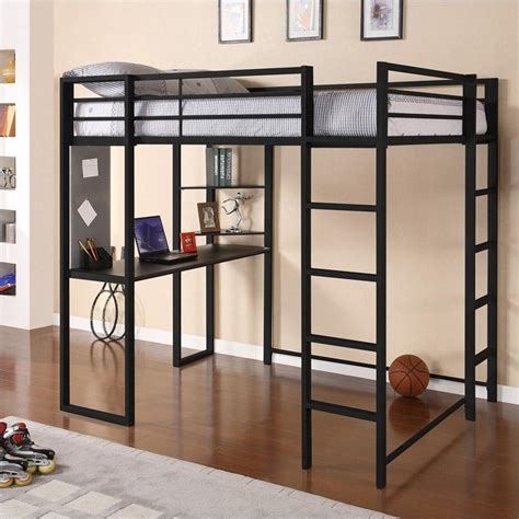 full size metal loft bed dhp abode full size metal loft bed black