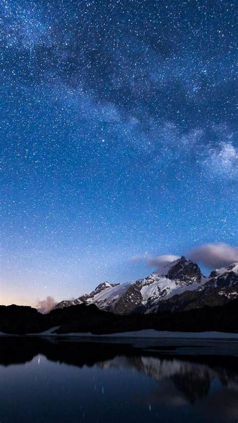 wallpaper night lake mountains sky stars water