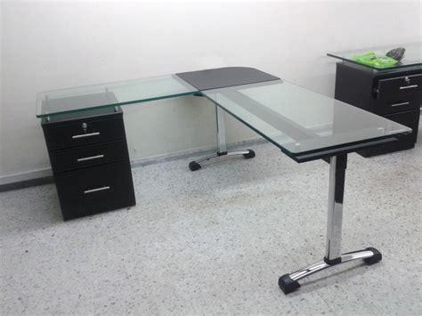 escritorio vidrio escritorio gerencial en l vidrio 19mm de 1 50x1 50x60cm
