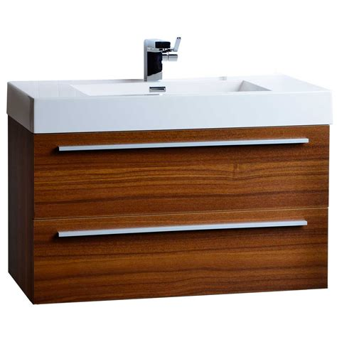 35 5 quot wall mount contemporary bathroom vanity teak tn m900