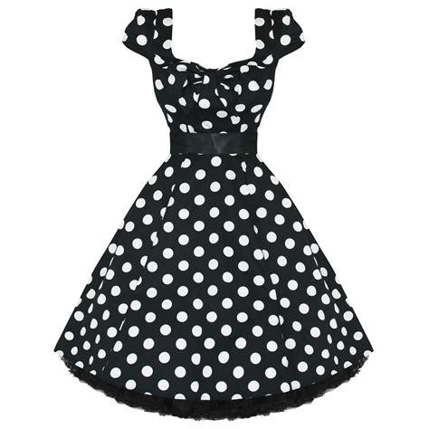 black and white polka dot swing dress ladies womens new black white polka dot 50s rockabilly