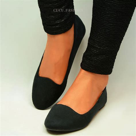 black flat ballerina shoes womens ballerina ballet dolly pumps flat black
