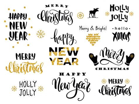 new year calligraphy vector free merry and happy new year vector lettering