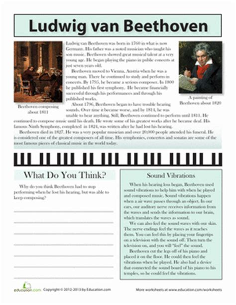 beethoven biography for elementary beethoven biography worksheet education com
