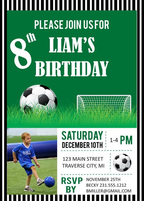 printable birthday cards soccer soccer photo birthday party invitations digital file diy