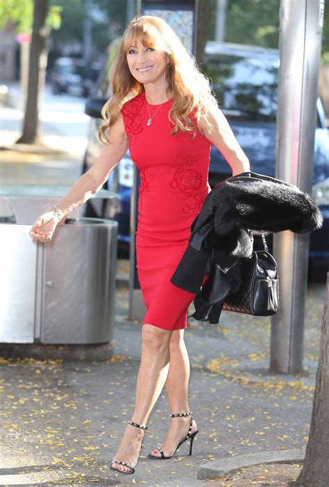 jane seymour high heels jane seymour in red dress at the itv studios in london 9