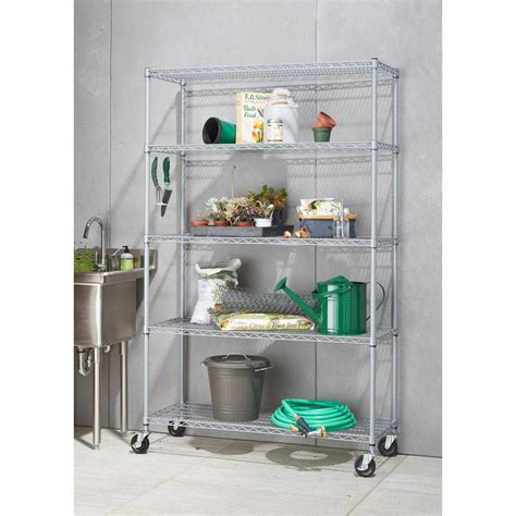 outdoor storage shelves 5 tier outdoor wire 48 in x 18 in x 72 in shelving rack with wheels in gray tbf ps664