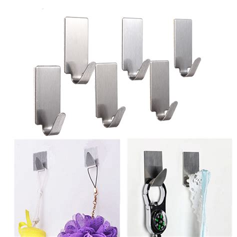 bathroom clothes hanger 6pcs stainless steel adhesive clothes hanger hook wall