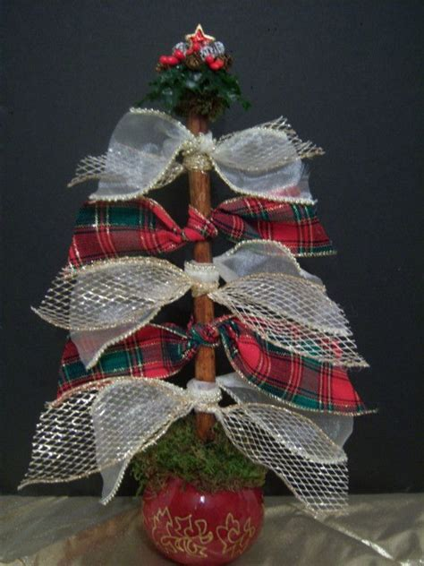 bow tie ribbonwork tabletop christmas tree in holiday