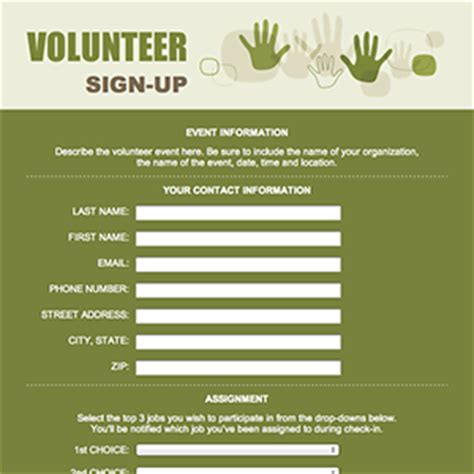 volunteer sign up form template volunteer sign up form template