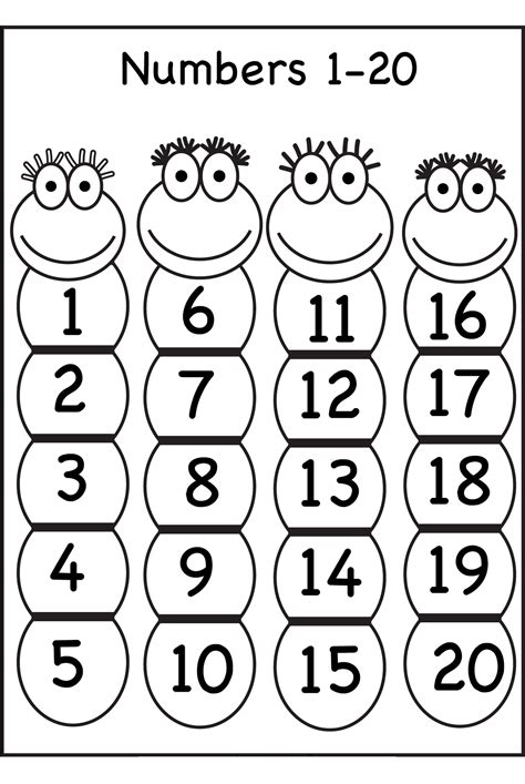 printable coloring pages numbers 1 20 1 20 number chart for preschool activity shelter