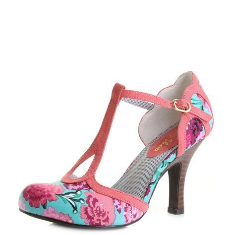 ruby high heels womens ruby shoo polly coral floral high heeled t bar