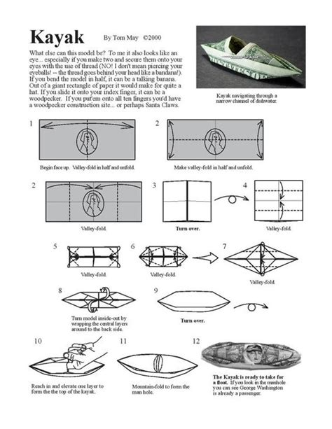 kayak origami kayak diagram money origami gifts goodies