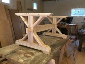 Building A Dining Table Base Custom Counter Height Trestle Table Kit For Diane