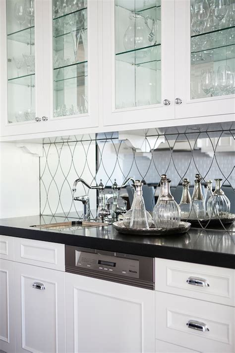 Mirrored Backsplash In Kitchen by Mirrored Wet Bar Backsplash Transitional Kitchen