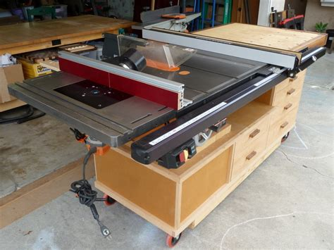 table saw bench plans free table saw work station by phil619 lumberjocks com