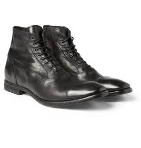 Mcqueen men s washed leather cap toe boots cool men s shoes