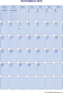Calendar Template November by November 2018 Calendar