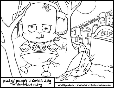 zombie dog coloring page the gallery for gt scary zombie halloween coloring pages