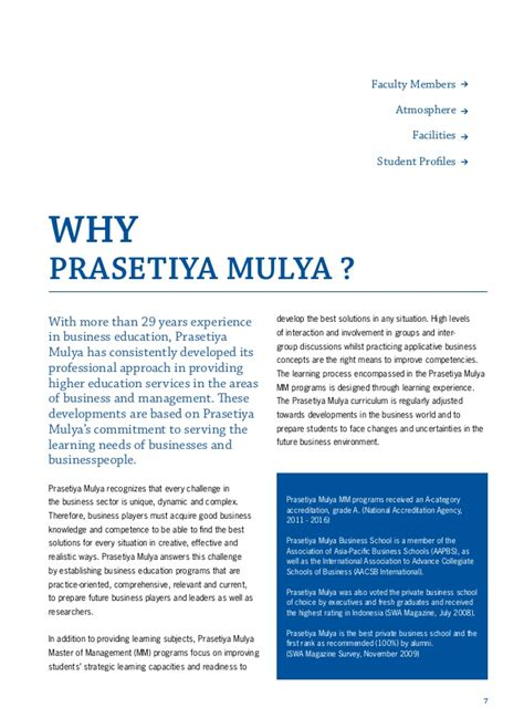Business Mba Subject by Brochure Prasetiya Mulya Graduate School Of Business
