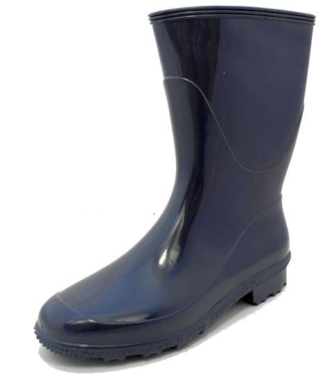 womens stormwells blue shiny calf wellies