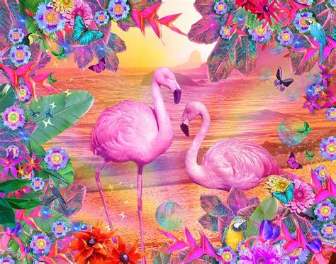 Fabric For Duvet Cover Tropical Flamingo Digital Art By Alixandra Mullins
