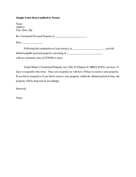 Lease Giving Notice landlord tenant termination letter sle cover letter