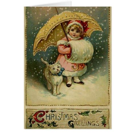 images of victorian christmas cards victorian child and cat in snow christmas card